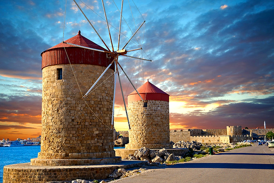 Hipparchus (traditional First Windmill In Mandraki Harbor Of Rhodes)